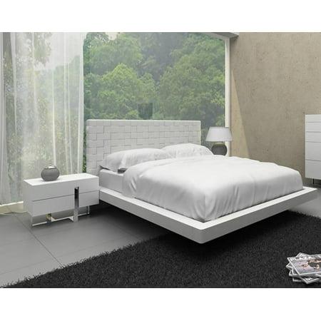 White Leather Pattern Headboard Queen Size Bedroom Set 2Pcs VIG Modrest Voco