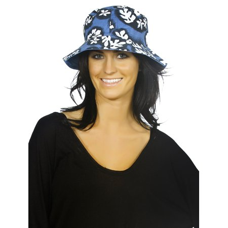 Women's Reversible Bucket Sun Hat with Floral Print, Royal Blue S
