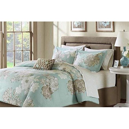 Madison Park Essentials Avalon Queen Size Bed Comforter Set Bed in A Bag - Aqua, Khaki, Floral â?? 9 Pieces Bedding Sets â?? Ultra Soft Microfiber Bedroom Comforters -