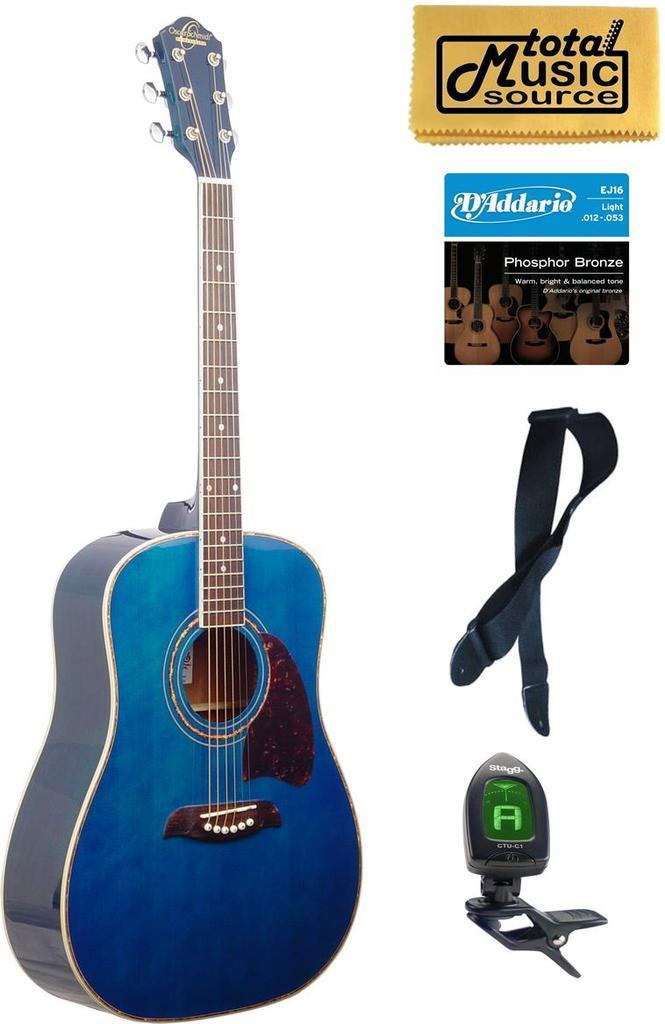 OG2 Oscar Schmidt Dreadnought Acoustic Guitar, Washburn, Blue, New OG2TBL KIT by Oscar Schmidt