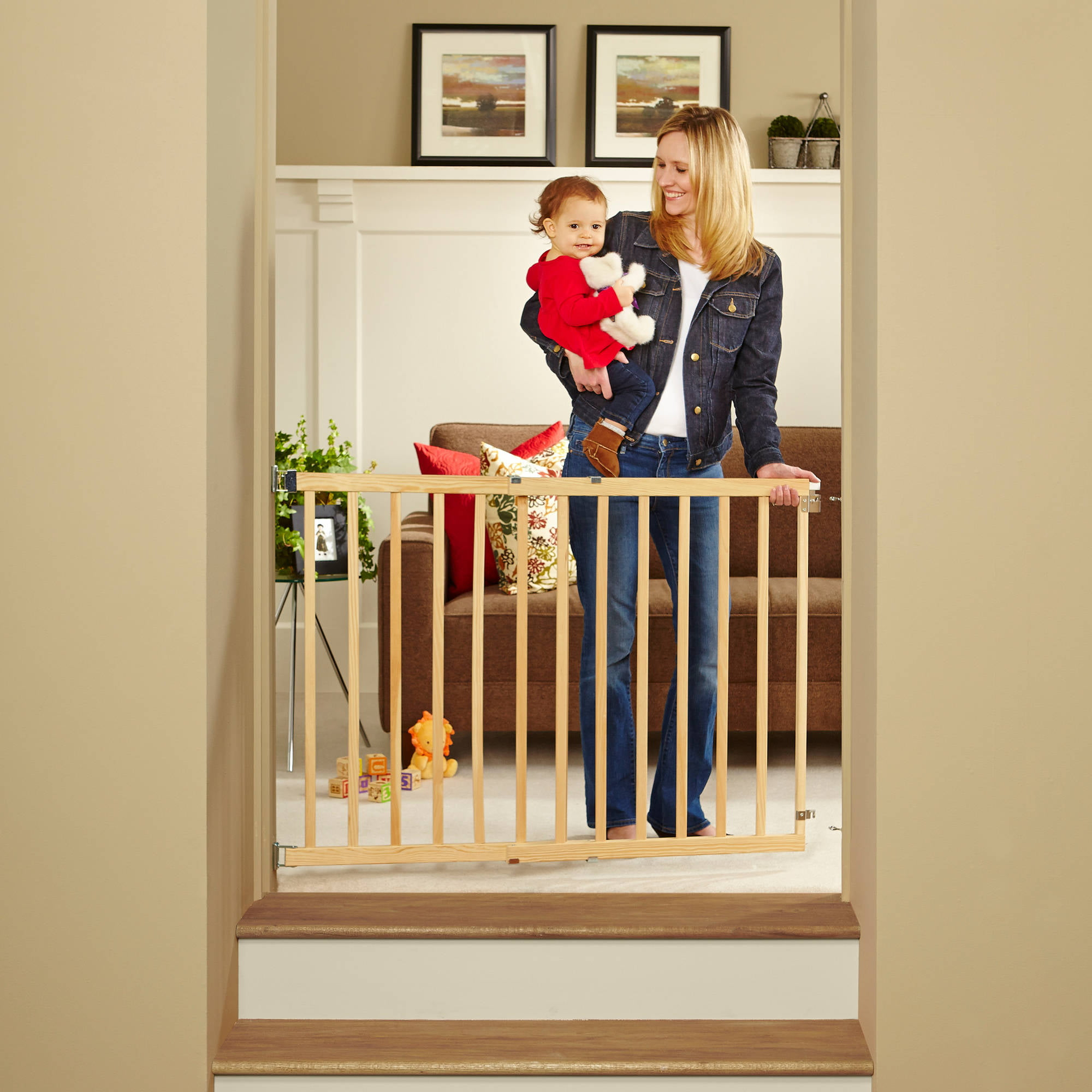 Natural Wood Stairway Swing Baby Gate Walk Through Door Wide Fence 28  42  In.