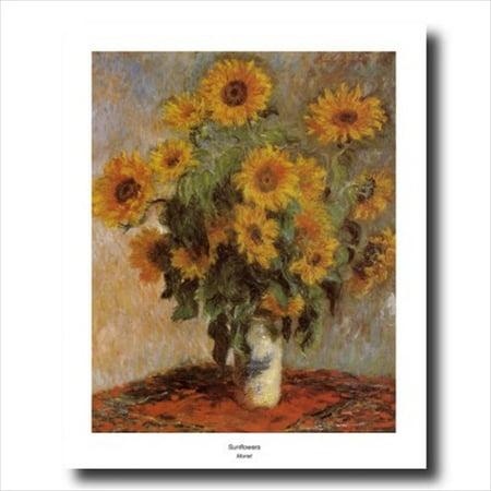 Monet Sunflowers Flower Vase Wall Picture Art Print