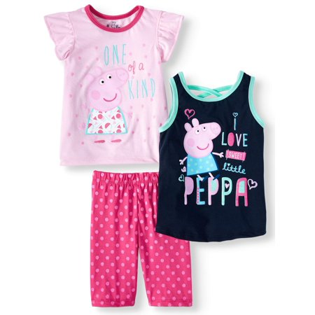 Peppa Pig Clothing (Peppa Pig Flutter Sleeve Tee, Tank Top & Shorts, 3pc Outfit Set (Toddler)