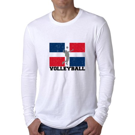 Dominican Republic Olympic - Volleyball - Flag Men's Long Sleeve (Dominican Republic Flag T-shirt)
