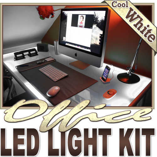 Biltek 16.4' ft Cool White Office Light LED Lighting Strip + Dimmer + Remote + Wall Plug 110V - Under Desk Hutch Drawers Bookshelf Reading Glass Case Waterproof 3528 SMD Flexible DIY 110V-220V