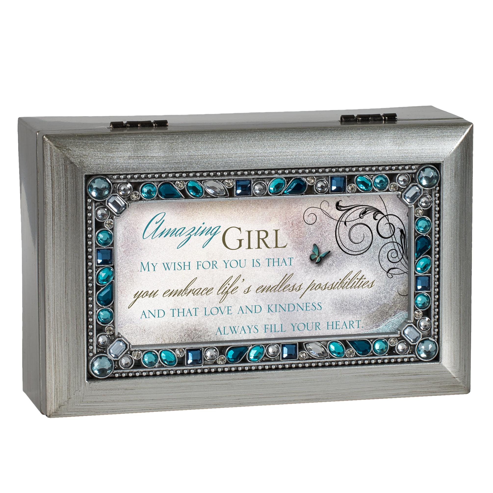 Amazing Girl Jeweled Silver Finish Jewelry Music Box Plays Tune You Light U... by