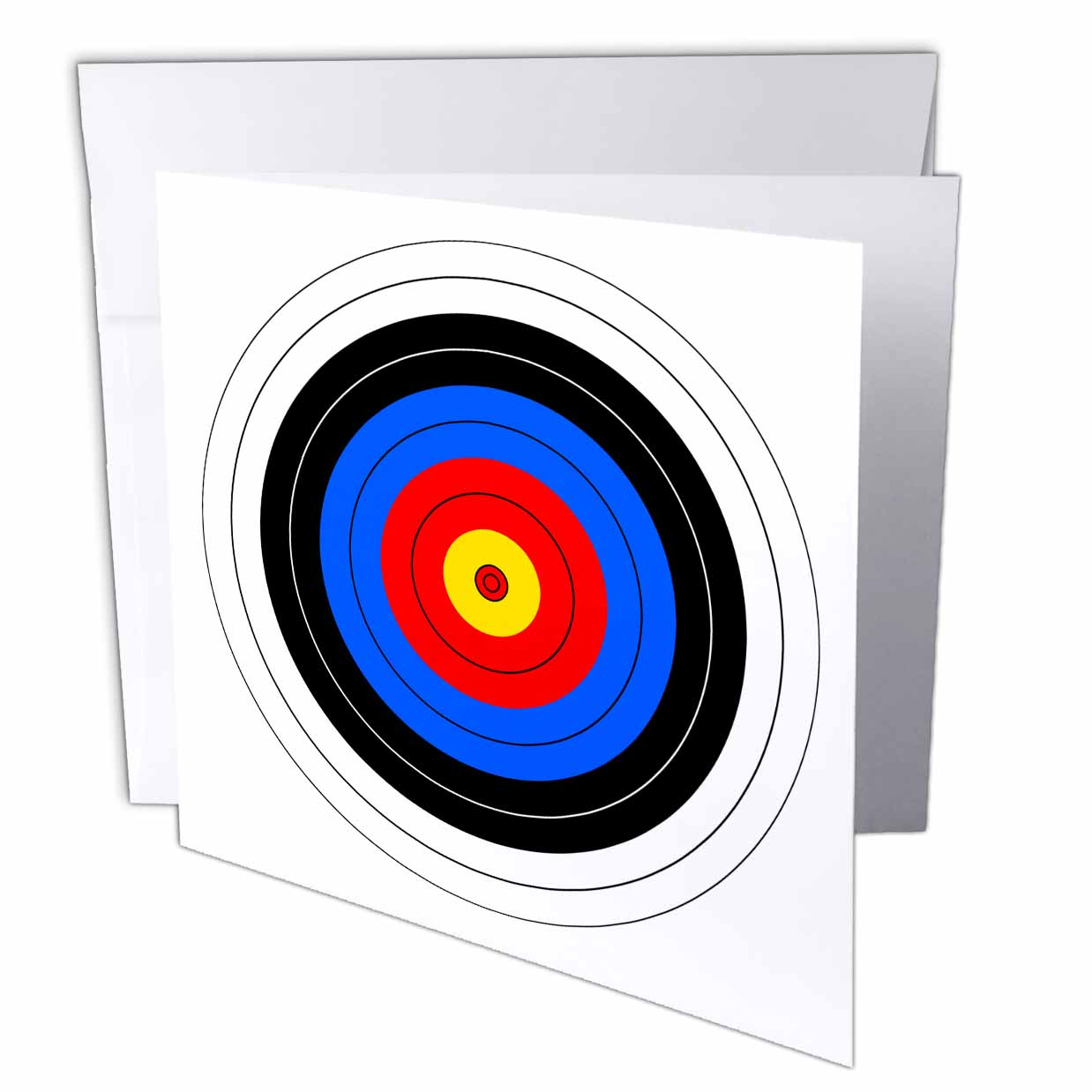 3dRose Target with red yellow black white and blue rings - archery, goal, sport, game, illustration, Greeting Cards, 6 x 6 inches, set of 6