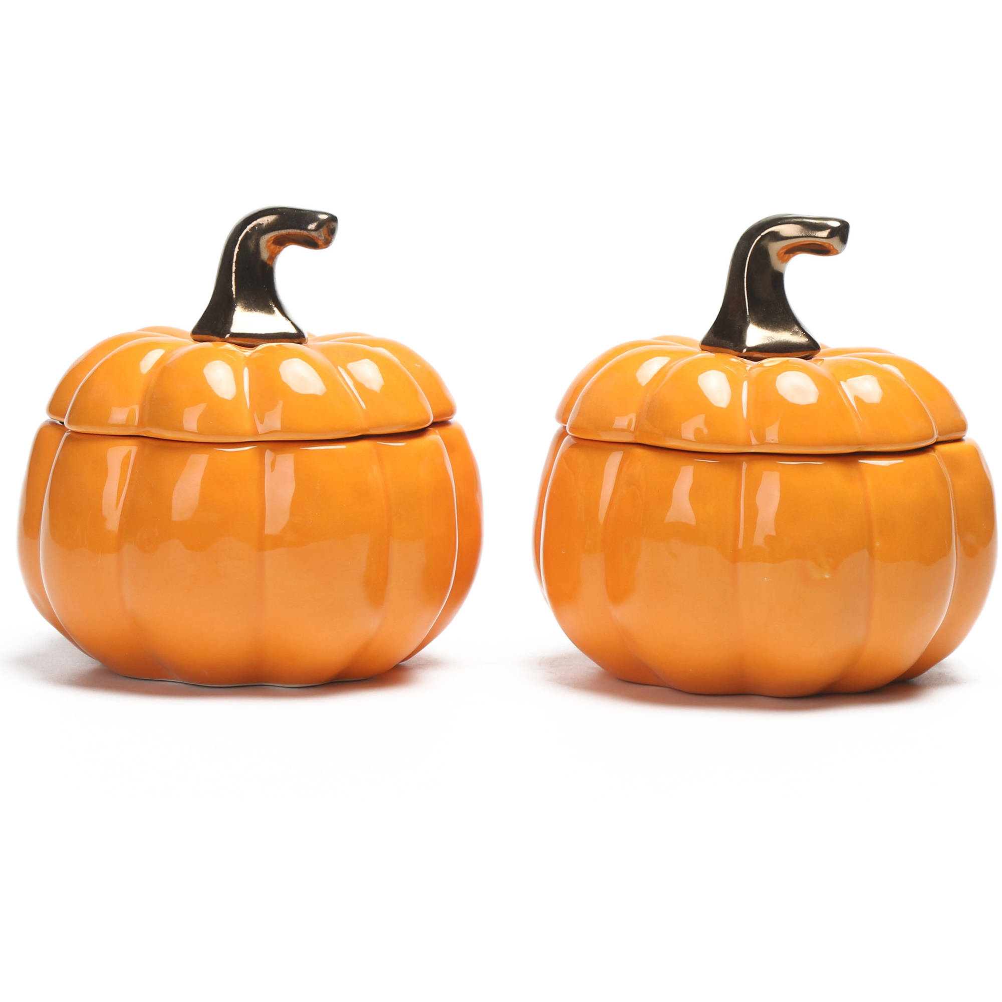 Better Homes and Gardens Set of 2 Orange Pumpkin Lidded Soup Bowls