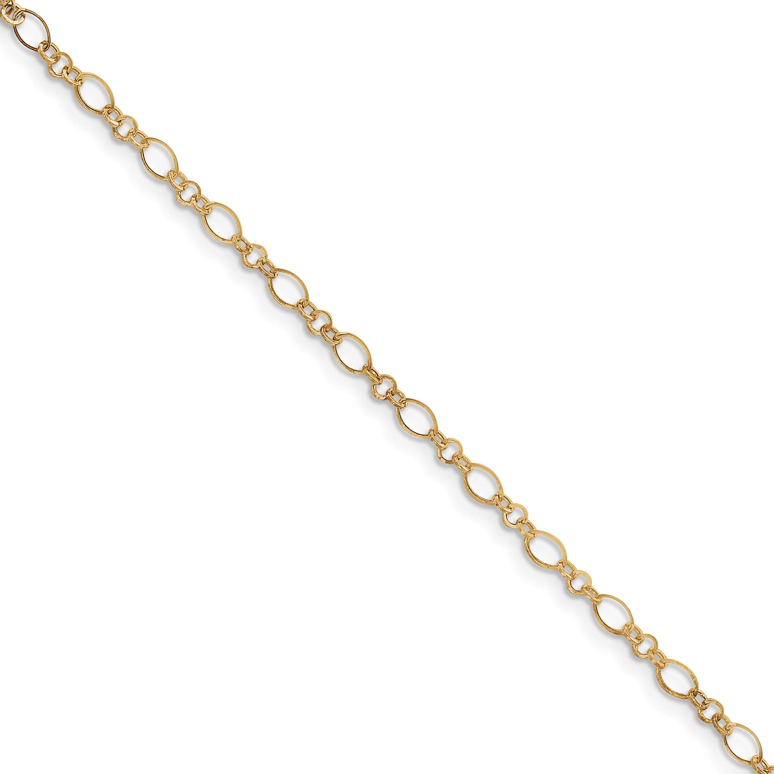 Finejewelers 14k 2.25mm Handmade Regular Rope Chain Ankle Bracelet