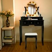 Gymax Vanity Set Makeup Dressing Table w/5 Drawers 12 LED Bulb Black