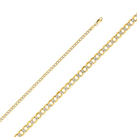 """Solid 14k Two Tone Italian Gold Cuban Curb Links 3.4mm Chain Hollow White Pave Diamond Cut Necklace 18"""" , 20"""" , 22"""" , 24"""""""