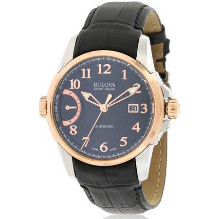 Bulova AccuSwiss Calibrator Automatic Leather Mens Watch 65B154