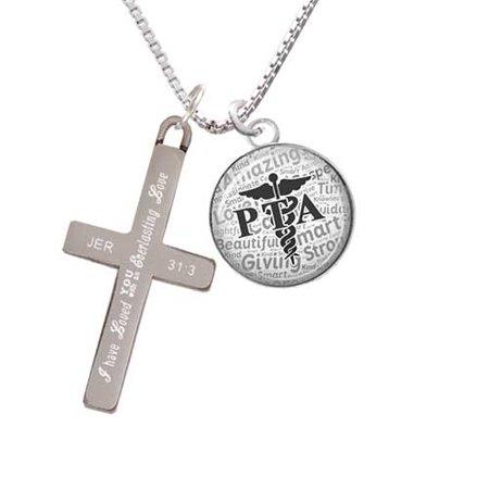 Silvertone Domed Black PTA - Everlasting Love - Cross