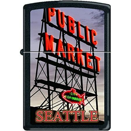 Zippo Seattle's Pike Place Fish Market Black Matte Windproof Lighter NEW Rare