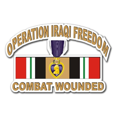 3.8 Inch Operation Iraqi Freedom Sticker (OIF ) Purple Heart Combat Wounded with Ribbon Decal Sticker (Heart With Ribbon)