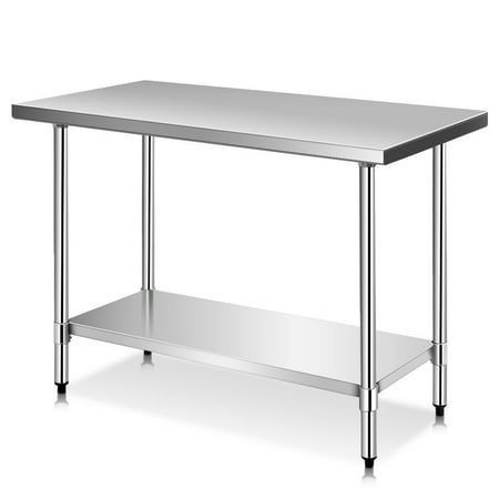 Costway 24'' x 48'' Stainless Steel Work Prep Table Commercial Kitchen - Commercial Style Stainless Steel