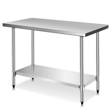 Costway 24'' x 48'' Stainless Steel Food Prep & Work Table ...