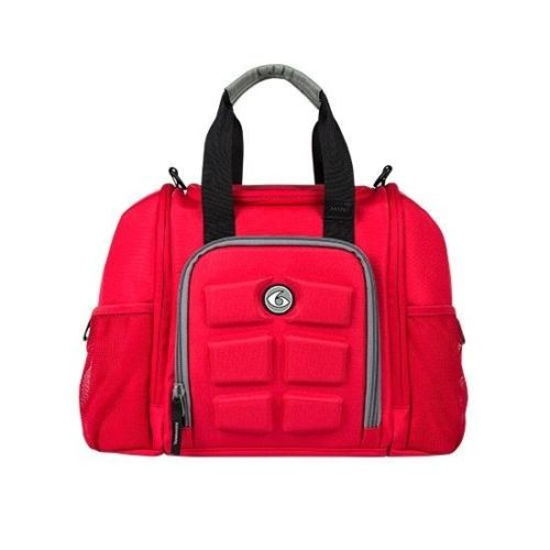 6 Pack Fitness Innovator Mini Red with Grey Trim Fitness Bag Meal Management Bag