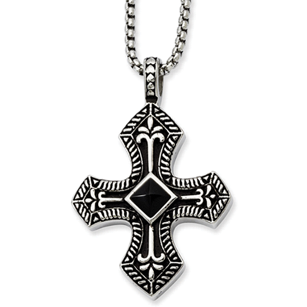Stainless Steel Black Agate and Antiqued Cross Necklace - 24 Inch