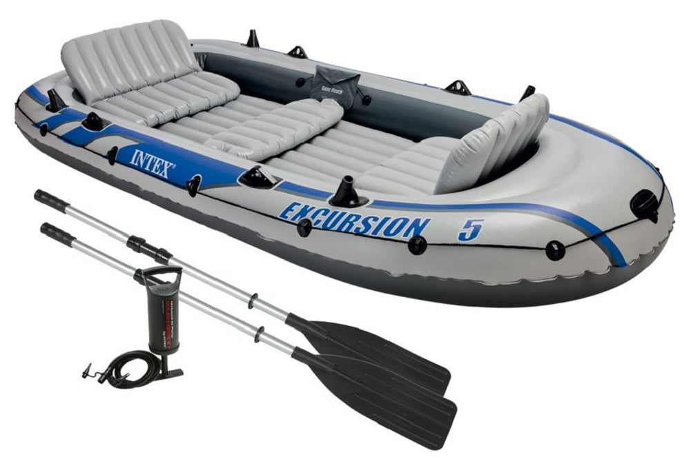 Intex Excursion 5, 5-Person Inflatable Boat Set with Aluminum Oars and High O... by Intex