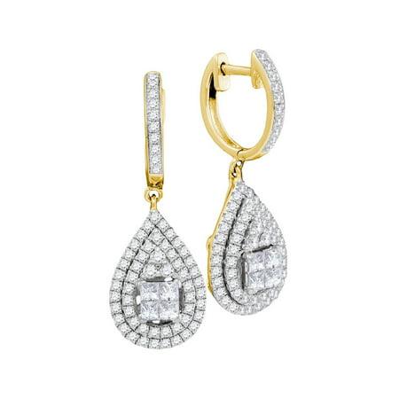 14kt Yellow Gold Womens Princess Round Diamond Teardrop Frame Cluster Earrings 1.00 Cttw