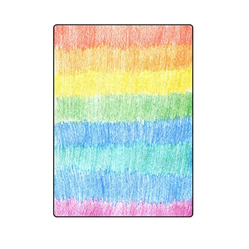 CADecor Pencil Color Rainbow Background Throw Blanket Bed Sofa Blanket 58x80 inches