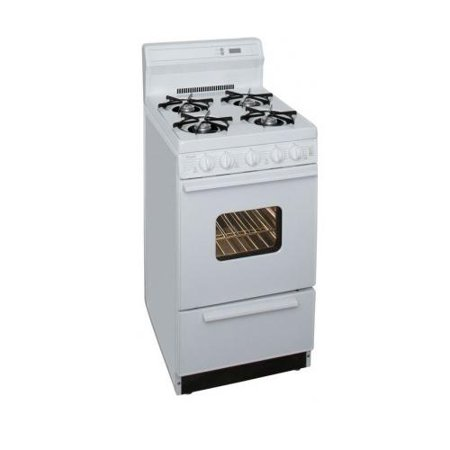 SAK220OP ADA Compliant White 20 Electronic Spark Gas Range with 2.4 Cu. Ft. Capacity Four Open Burners 8 Porcelain Backguard with Electronic Clock and Lift Up Top