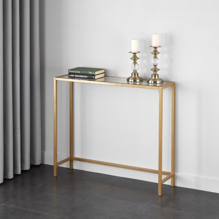 Mainstays Tempered Glass and Metal Console Table Collection, Gold