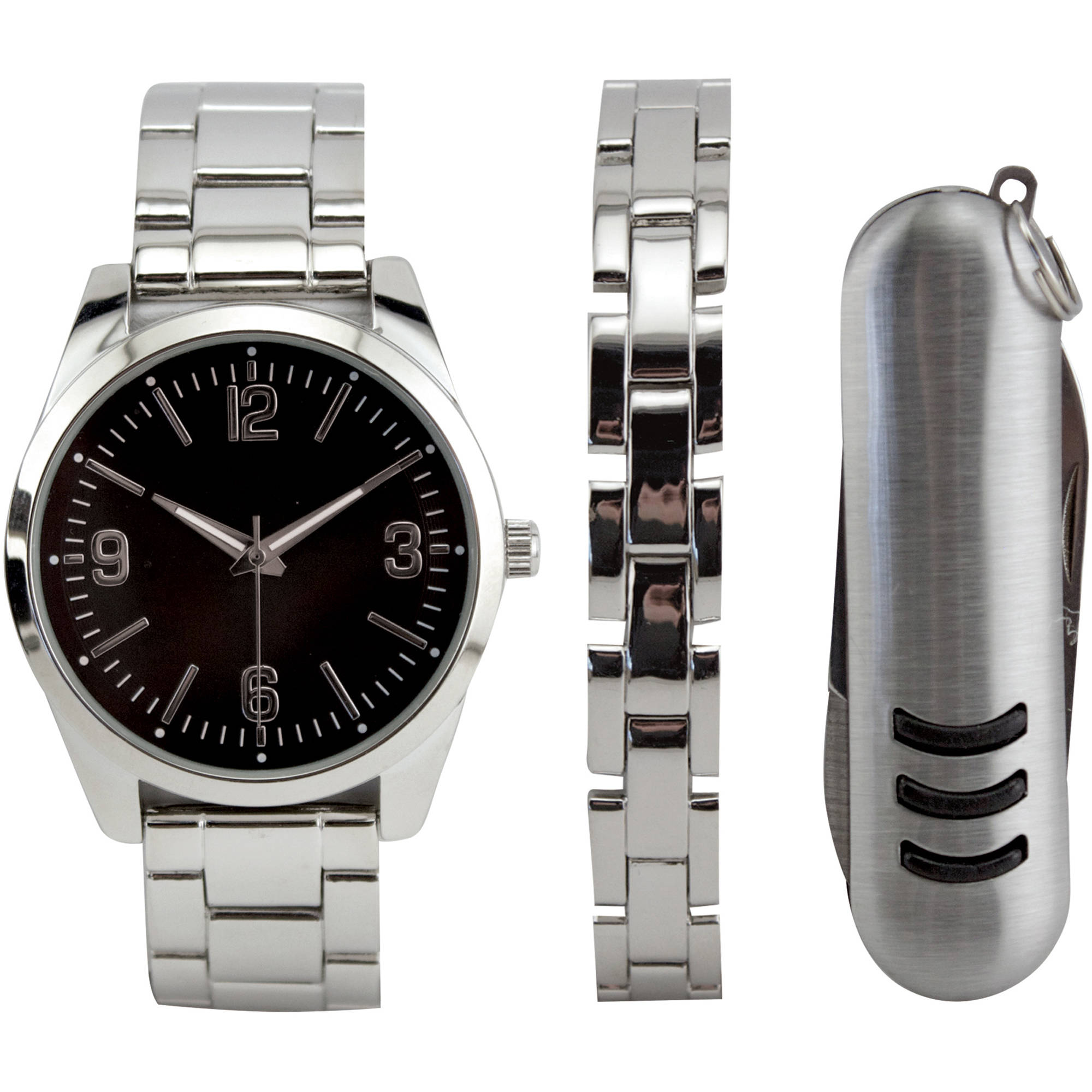 Men's Silver Watch Set with Bracelet and Multi-Tool
