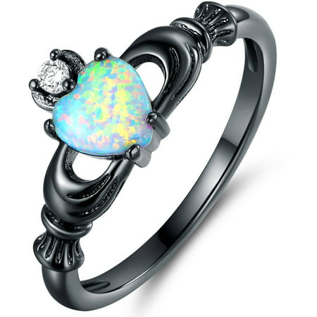 Black White Enamel Rhodium Ring - CZ and Lab Created Fire Opal Black Rhodium-Plated Heart Crown Ring