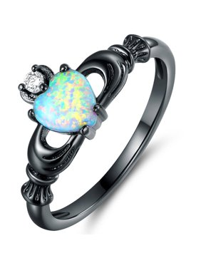 CZ and Lab Created Fire Opal Black Rhodium-Plated Heart Crown Ring