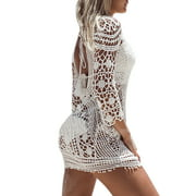 529d3f66a0 Women Bathing Suit Swim Cover up Dress Crochet Lace Bikini Swimsuit Dress  Backless Hollow Out Beachwear