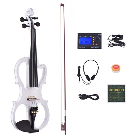 ammoon VE-201 Full Size 4/4 Solid Wood Silent Electric Violin Fiddle Maple Body Ebony Fingerboard Pegs Chin Rest Tailpiece
