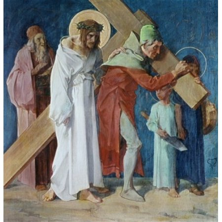 Simon of Cyrene Helps Jesus 5th Station of the Cross Feuerstein Martin 19thC-  German St Anna Church Munich Germany Poster Print