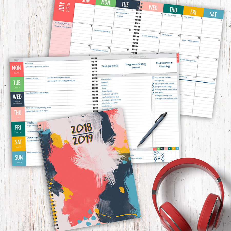 "2019 Painted Abstract July 2018   June 2019 Academic Year 11""X9"" Large Weekly Monthly Planner by Tf Publishing"