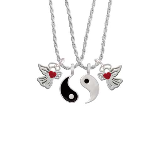 Delight Lined Angel with Red Heart Yin Yang Necklace Set,...