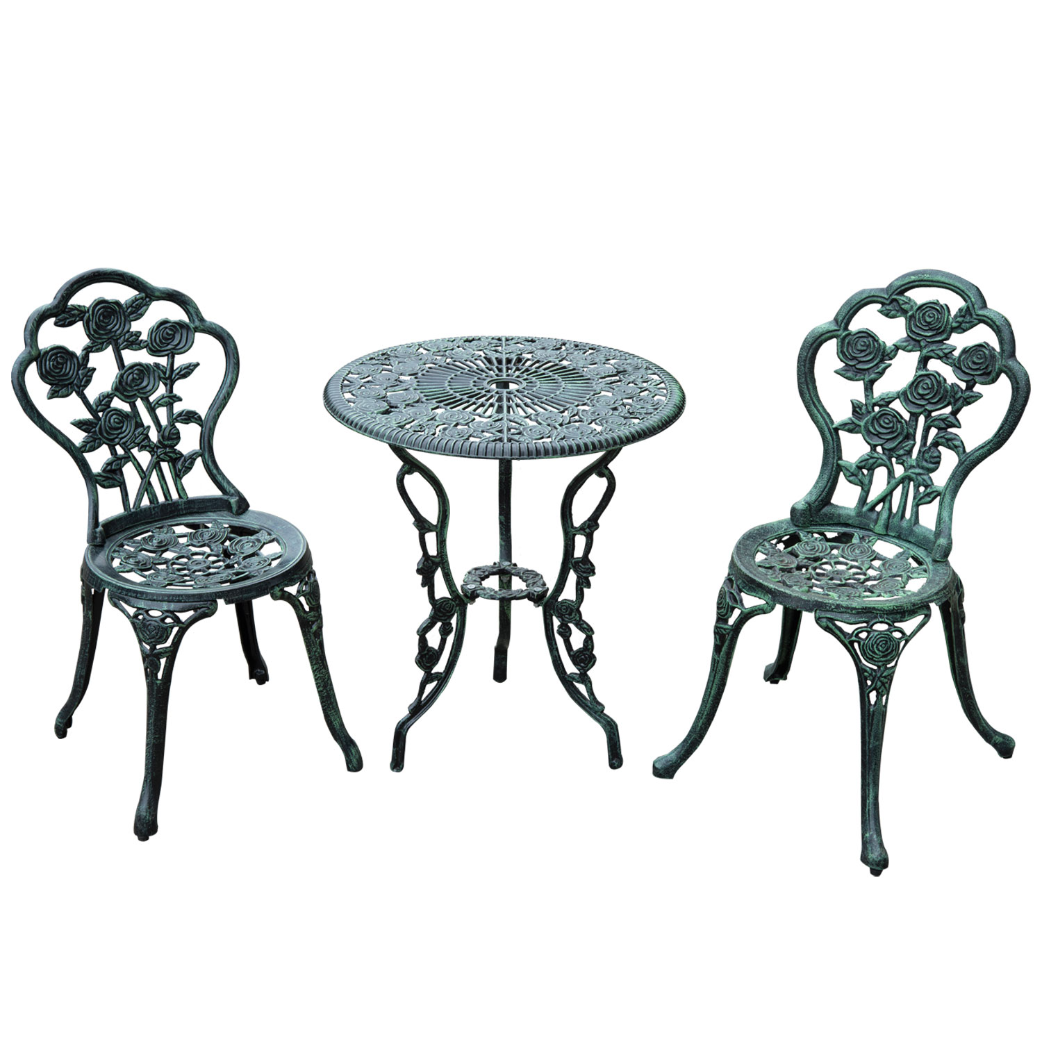 Perfect Outsunny 3 Piece Outdoor Cast Iron Patio Furniture Antique Style Dining  Chair U0026 Table Bistro Set