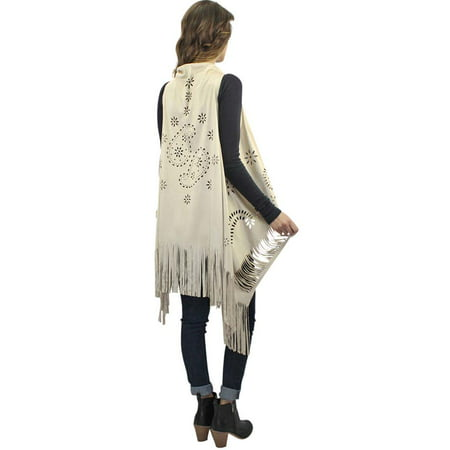 Luxury Divas Faux Suede Long Vest