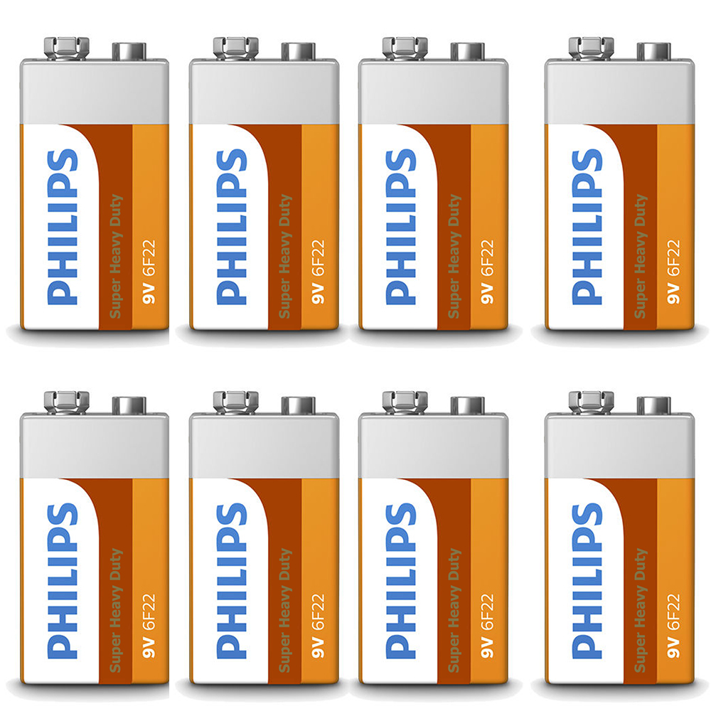 8 x 9 Volt 9V Philips Super Heavy Duty Batteries Battery 6F22 Toy Alarm Exp 2019
