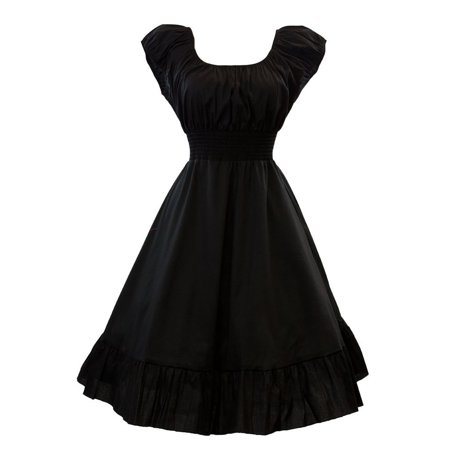 Vintage 1950s Style Smock Peasant Empire Dress, Black (S) - Medieval Peasant Dresses