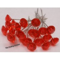 """Floral Corsage / Boutonniere Diamante Pins 2"""" Red Crystal pk/100"""