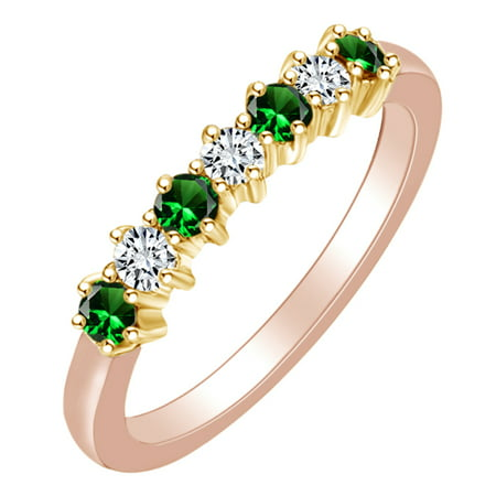 0.4 Carat (Ctw) Simulated Emerald & White Natural Diamond Eternity Wedding Band Ring In 14k Solid Rose Gold Ring Size-5