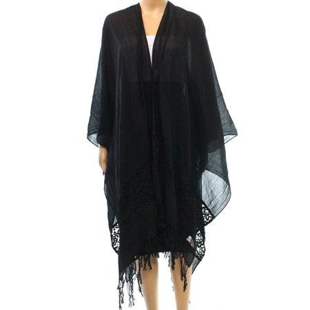 057e0ad314da4 D&Y - D&Y NEW Black Women's One Size Sheer Lace Inset Fringe Trim ...