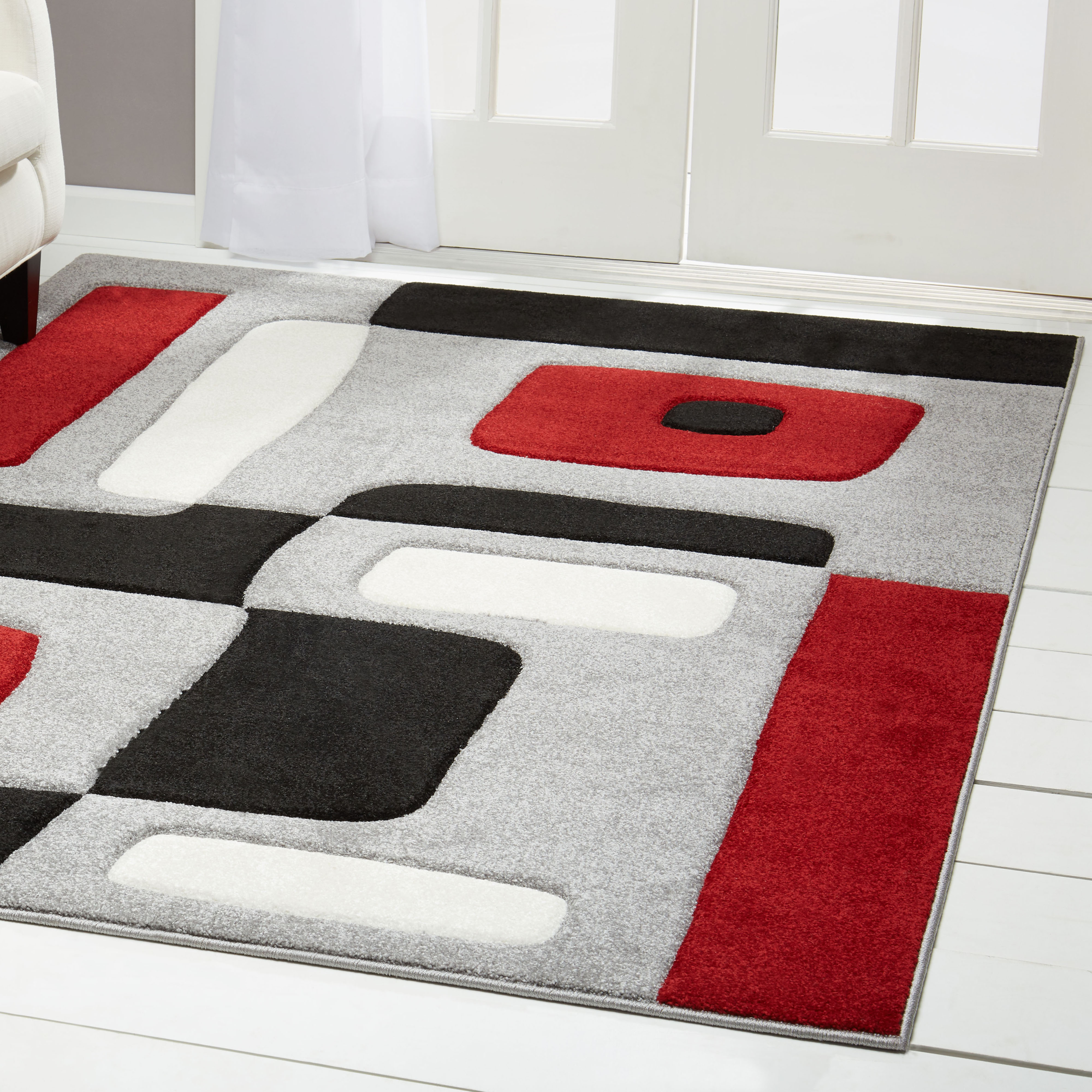 Home Dynamix Sumatra Modern Red-Gray Blocks Hand-Carved Rug