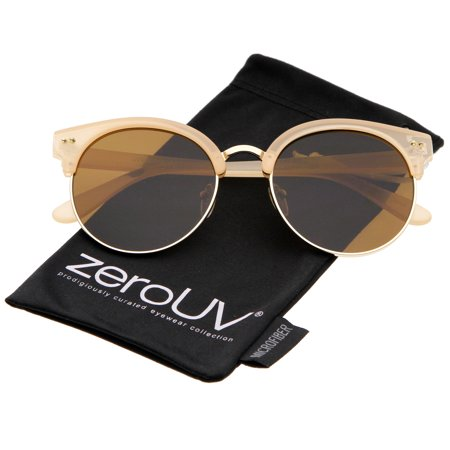 zeroUV - Women's Oversize Half Frame Color Mirror Flat Lens Round Sunglasses - 55mm
