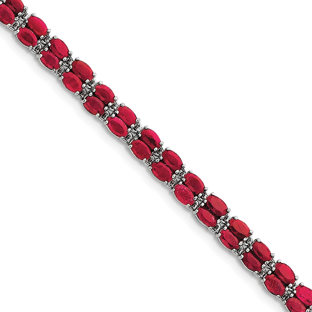 Sterling Silver Polished Rhodium-plated Box Catch Closure Ruby Bracelet 7 Inch Box Clasp by