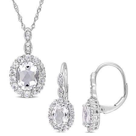 Signature Collection 14k White Gold White Topaz & Diamond Accent Halo Necklace and Leverback Earrings Set ()