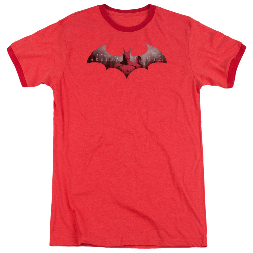 Arkham City In The City Mens Adult Heather Ringer Shirt