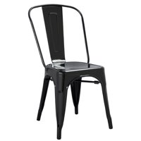 Industrial Urban Outdoor Cafe Vintage Design Outdoor Cafe Kitchen Dining Side Chair, Black, Metal