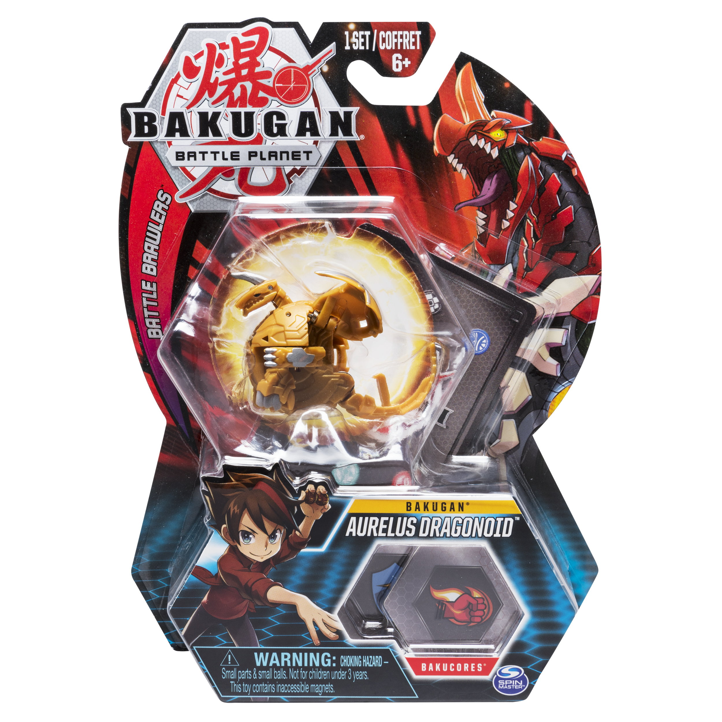 Bakugan, Aurelus Dragonoid, 2-inch Tall Collectible Action Figure and Trading Card, for Ages 6 and Up